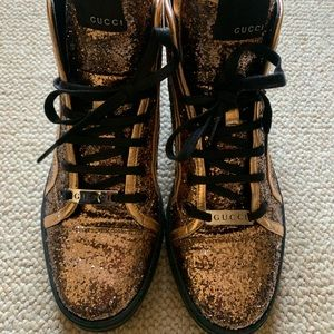 Gucci copper glitter sneakers